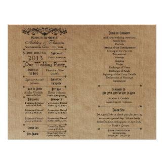 Plantilla de encargo del programa del boda para la tarjeta publicitaria