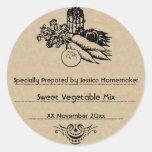 Plantilla de enlatado vegetal pasada de moda etiquetas