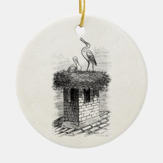 Plantilla de la antigüedad del pájaro de la adorno navideño redondo de cerámica
