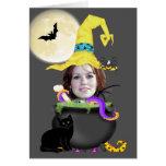 Plantilla de la bruja de Halloween Felicitación