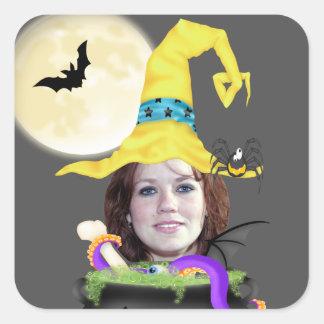 Plantilla de la bruja de Halloween Pegatina Cuadrada