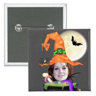 Plantilla de la bruja de Halloween Pin Cuadrada 5 Cm