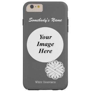 Plantilla de la cinta de la flor blanca funda para iPhone 6 plus tough
