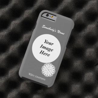 Plantilla de la cinta de la flor blanca funda para iPhone 6 tough