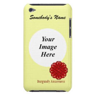 Plantilla de la cinta de la flor de Borgoña Barely There iPod Fundas