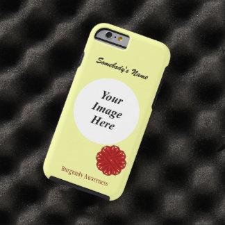 Plantilla de la cinta de la flor de Borgoña Funda De iPhone 6 Tough