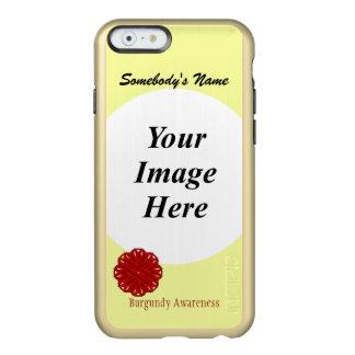 Plantilla de la cinta de la flor de Borgoña Funda Para iPhone 6 Plus Incipio Feather Shine