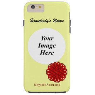 Plantilla de la cinta de la flor de Borgoña Funda Para iPhone 6 Plus Tough