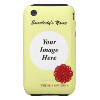 Plantilla de la cinta de la flor de Borgoña iPhone 3 Tough Protector