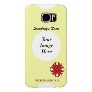 Plantilla de la cinta del trébol de Borgoña Fundas Samsung Galaxy S6