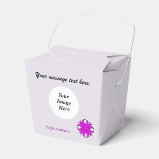 Plantilla de la cinta del trébol púrpura cajas para regalos de boda