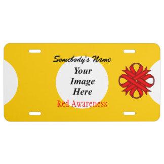 Plantilla de la cinta del trébol rojo placa de matrícula