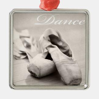 Plantilla de la danza de los zapatos de Pointe del Adorno Navideño Cuadrado De Metal