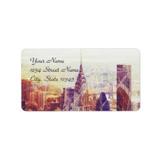 Plantilla de la etiqueta de dirección de New York