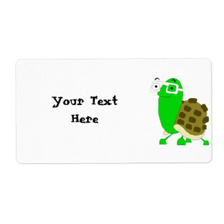 Plantilla de la etiqueta de la tortuga del friki etiqueta de envío