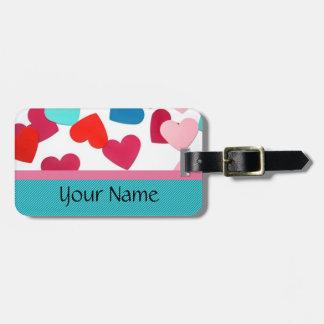 Plantilla de la etiqueta del equipaje del corazón etiqueta de equipaje