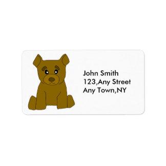 Plantilla de la etiqueta del oso de Brown Etiquetas De Dirección