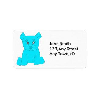 Plantilla de la etiqueta del oso de la turquesa etiquetas de dirección