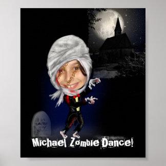 Plantilla de la foto de la caricatura del zombi de póster