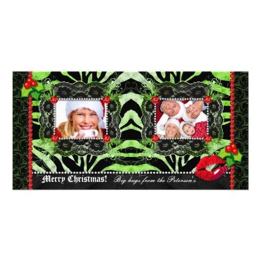 Plantilla de la foto de la cebra del cordón de los tarjetas fotográficas