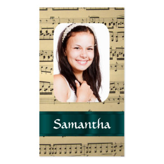 Plantilla de la foto de la hoja de música tarjetas de visita
