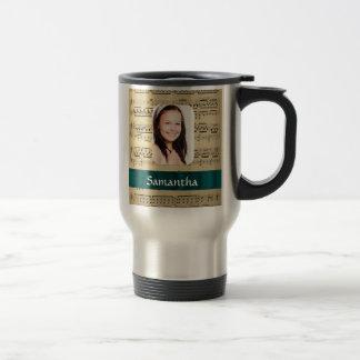 Plantilla de la foto de la hoja de música taza de café
