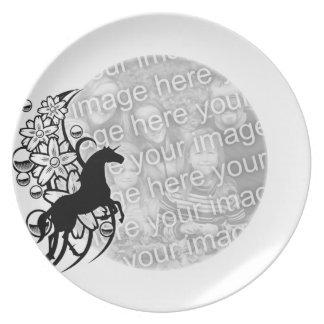 Plantilla de la foto de la placa - caballo decorat plato para fiesta