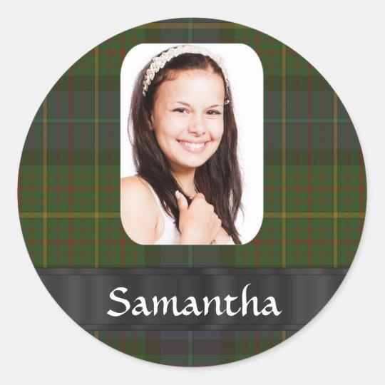 Plantilla de la foto de la tela escocesa de tartán pegatina redonda