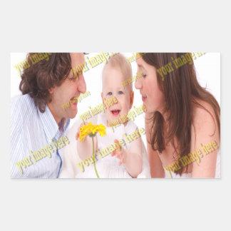 Plantilla de la foto de las memorias de la imagen pegatina rectangular