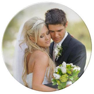 Plantilla de la foto del aniversario de boda plato de cerámica
