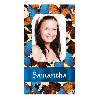 Plantilla de la foto del collage de la mariposa tarjetas de visita
