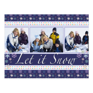 Plantilla de la foto del copo de nieve del navidad postal