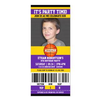 """Plantilla de la foto del cumpleaños del baloncesto invitación 4"""" x 9.25"""""""