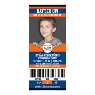 """Plantilla de la foto del cumpleaños del béisbol invitación 4"""" x 9.25"""""""