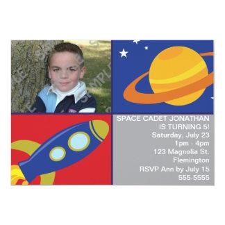 Plantilla de la foto del cumpleaños del espacio invitación
