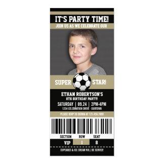 """Plantilla de la foto del cumpleaños del fútbol invitación 4"""" x 9.25"""""""