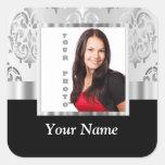 Plantilla de la foto del damasco de los gris pegatina cuadradas personalizada