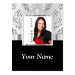 Plantilla de la foto del damasco de los gris plate tarjeta postal