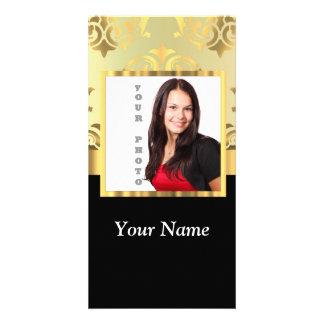 Plantilla de la foto del instagram del damasco del tarjetas fotograficas personalizadas