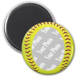 Plantilla de la foto del softball de Fastpitch Imán Redondo 5 Cm