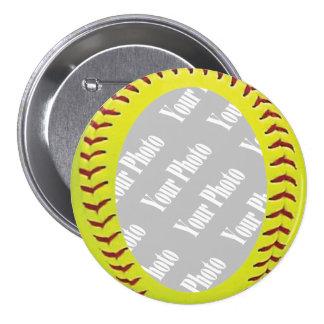 Plantilla de la foto del softball de Fastpitch Pin Redondo De 3 Pulgadas