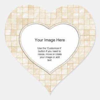 Plantilla de la foto - teja color nata del pegatina en forma de corazón