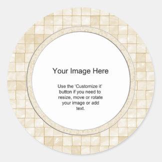 Plantilla de la foto - teja color nata del pegatina redonda