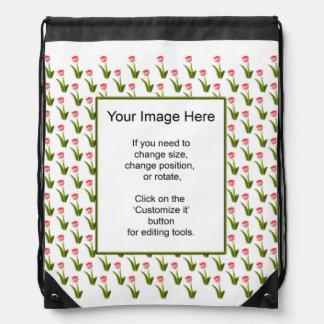 Plantilla de la foto - un tulipán rosado - papel p mochila