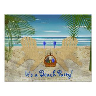 Plantilla de la invitación del fiesta de la playa