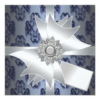 Plantilla de la invitación del fiesta del damasco invitación 13,3 cm x 13,3cm
