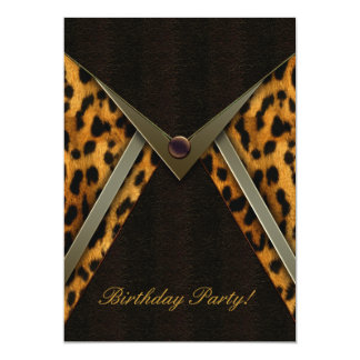 Plantilla de la invitación del fiesta del leopardo