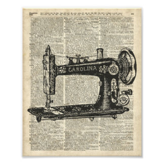 Plantilla de la máquina de coser del vintage sobre cojinete