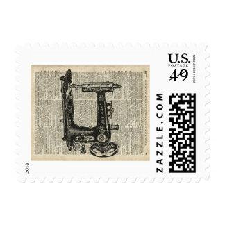 Plantilla de la máquina de coser del vintage sobre sellos