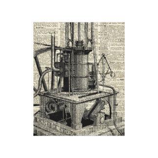 Plantilla de la máquina de Steampunk sobre la Impresión En Lienzo